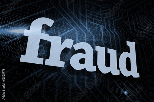 Fraud against futuristic black and blue background