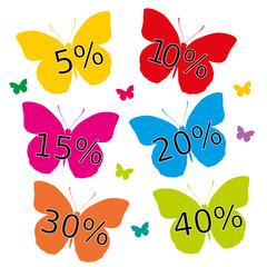 Bunte Schmetterlinge mit Rabatt Angebot %