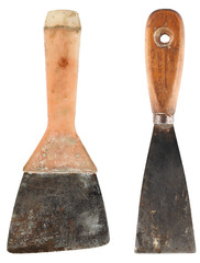 Old spatula works, isolated on a white background