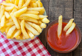 french fries on vintage wooden table
