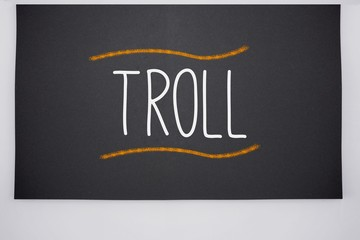 Troll written on big blackboard