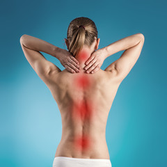 Spine disease. Osteoporosis indicated on woman's back.
