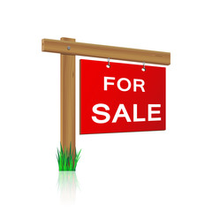 for sale sign made ​​of wood