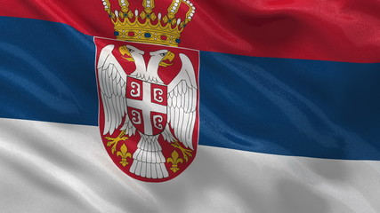 Flag of Serbia waving in the wind - seamless loop