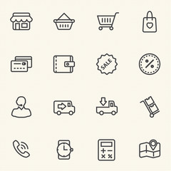 Shopping sale icons set