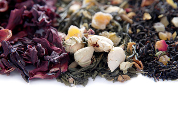 Different kinds of dry tea close up