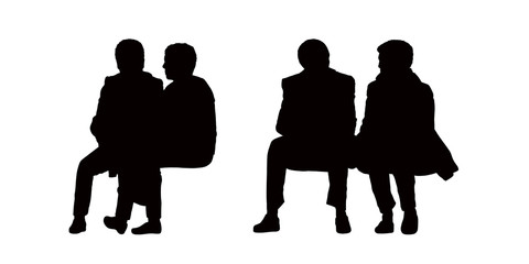 people seated outdoor silhouettes set 10