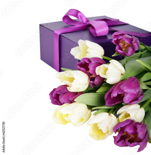White and purple tulips and gift box isolated on white