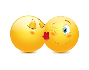 Kissing emoticons on a white background