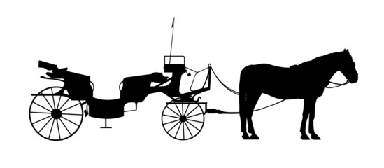 old style carriage with one horse in harness silhouette