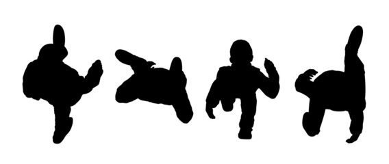 people walking top view silhouettes set 1