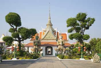 The entrance to the yard of the temple of Wat Arun. Bangkok