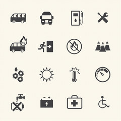 Dangers of bus icons set.