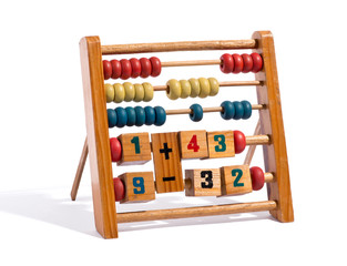Wooden abacus with numbers and counters