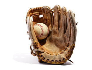 Old vintage leather baseball glove
