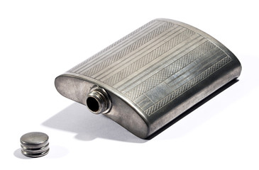 Old silver metal hip flask