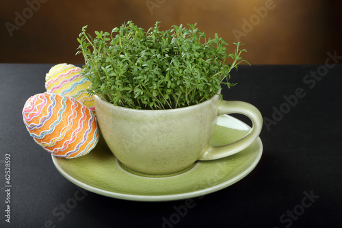Cress in a cup with easter eggs
