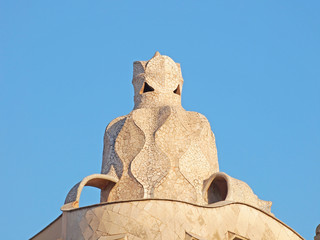 Decoration on the top of Pedrera building, Barcelona