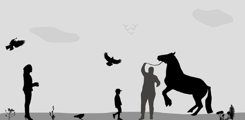 People Walk on, Connie, Birds Fly in Nature. Vector Illustration