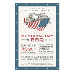 Vintage Memorial Day barbecue invitation
