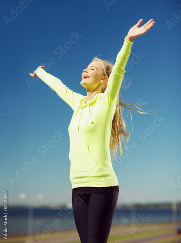 woman doing sports outdoors