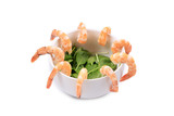 Composition of shrimps and basil.
