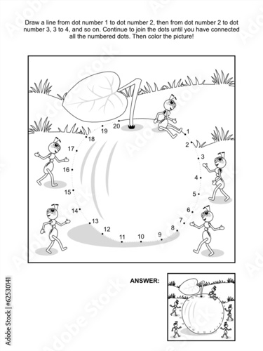 Dot-to-dot and coloring page - apple and ants