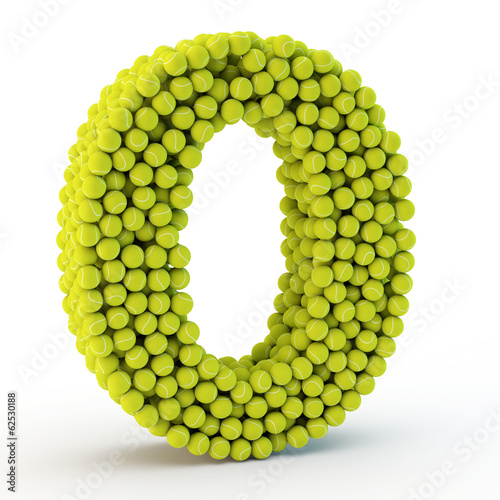 3D number zero made from tennis balls