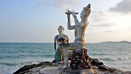 Thailand, Ko Samet, Saikaew Beach, Flute Player and Mermaid