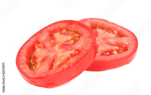 Slices of tomato. Close up.