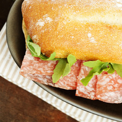 Lunch - sandwich with salami