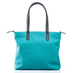 female turquoise leather handbag