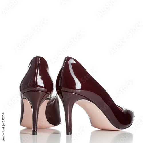 pair of red female high heel shoes