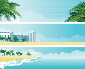 Tropical banners	with palms and  hotel on the sea coast