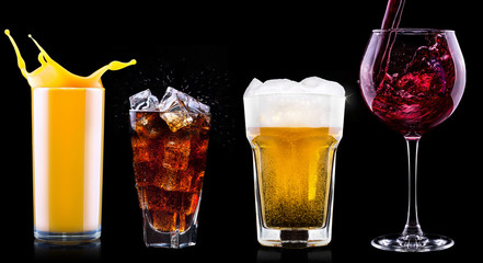 Collection of different images alcohol isolated