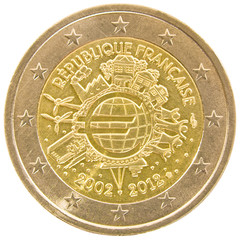 French 2 euro coin isolated on white background.