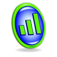Icono 3d azul y verde con gráfica de barras