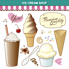Ice Cream Shop Illustration Set Toppings