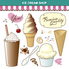 Ice Cream Shop Illustration Set Toppings