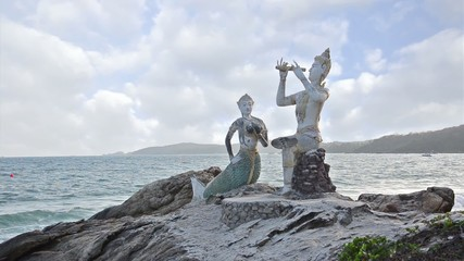 Thailand, Ko Samet, Saikaew Beach, Flute Player and Mermaid