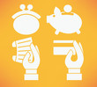 flat banking and money icons on bright orange background