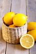 lemons on wooden surface