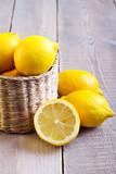 lemons on wooden surface