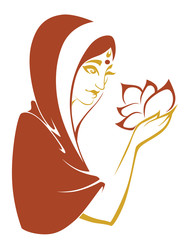 Indian beauty with flower in hands, vector illustration