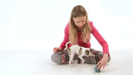 Girl and chihuahua dog