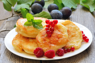 Pancakes decorated with berries