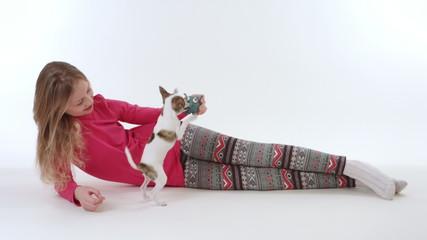 chihuahua dog with girl