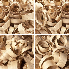 Collection wooden shavings in workshop on planks