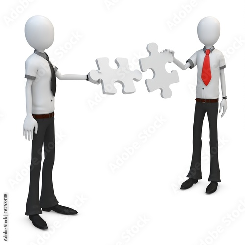 3d man businessman team putting puzzle together