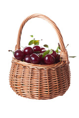 Ripe cherries in a wattled basket
